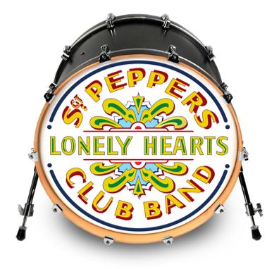 evans inked official beatles 39 sgt pepper 39 replica drum head 12 20 22 drumattic. Black Bedroom Furniture Sets. Home Design Ideas